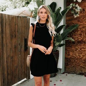 Vici Black Ruffle Trim Linen Blend Mini Dress